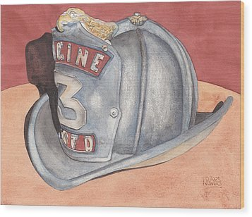 Rondo's Fire Helmet Wood Print by Ken Powers
