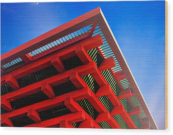 Roof Corner - Expo China Pavilion Shanghai Wood Print by Christine Till