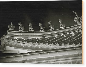 Roof National Palace Museum Taiwan City - Taipei  Wood Print by Christine Till