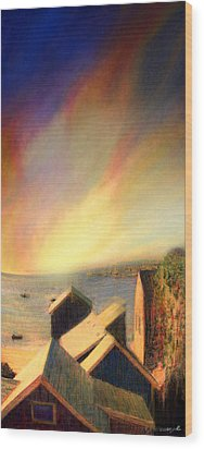 Roof Tops Over Provincetown Harbor Wood Print by Mike Massengale