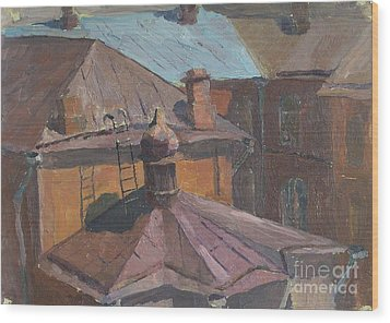Roofs Wood Print by Andrey Soldatenko
