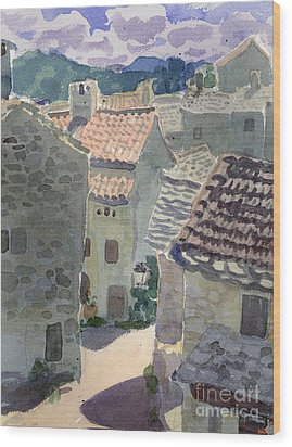Roofs Of La Couvertoirade Wood Print