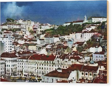 Wood Print featuring the photograph Roofs Of Lisbon by Dariusz Gudowicz