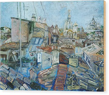 Roofs Of Rome 1 Wood Print by Joan De Bot