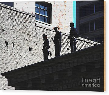 Rooftop Cops Wood Print by Wingsdomain Art and Photography
