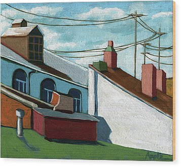 Wood Print featuring the painting Rooftops by Linda Apple
