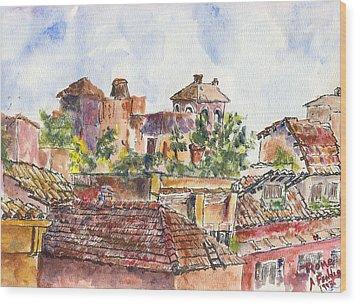 Rooftops Of Rome Wood Print by Albert Fendig