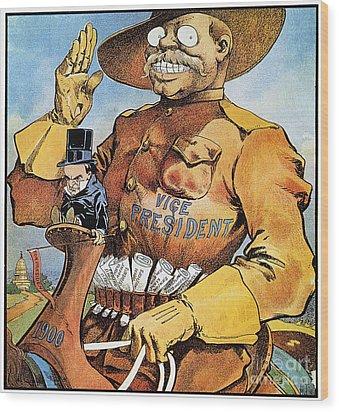 Roosevelt/mckinley Cartoon Wood Print by Granger