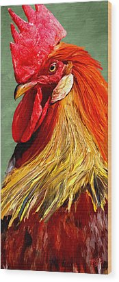 Wood Print featuring the digital art Rooster 1 by James Shepherd