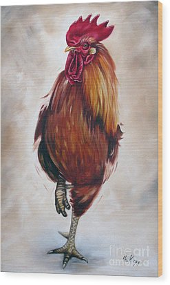 Rooster 17 Of 10 Wood Print by Ilse Kleyn