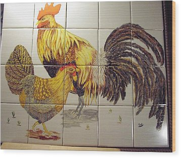Rooster And Hen Wood Print by Hilda and Jose Garrancho