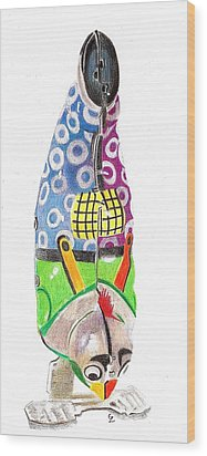 Rooster Clown Wood Print