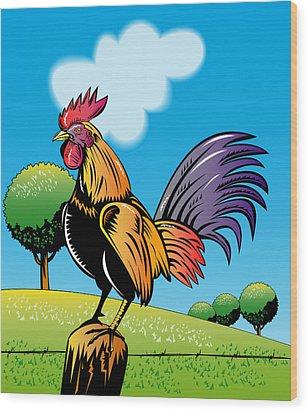 Rooster Cockerel Cock Crowing Retro Wood Print by Aloysius Patrimonio