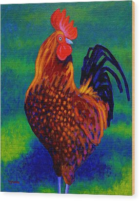 Rooster Wood Print by John  Nolan