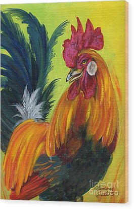 Rooster Kary Wood Print by Summer Celeste