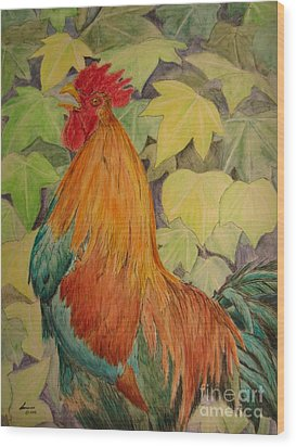 Wood Print featuring the painting Rooster by Laurianna Taylor