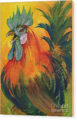 Rooster Of Another Color Wood Print by Summer Celeste