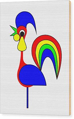 Rooster Rainbow Wood Print by Asbjorn Lonvig
