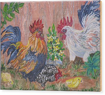 Rooster Ranch Wood Print by Mikki Alhart