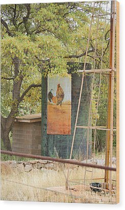 Wood Print featuring the photograph Rooster Water Tank by Donna Greene