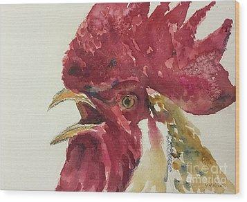 Rooster Wood Print by Yoshiko Mishina