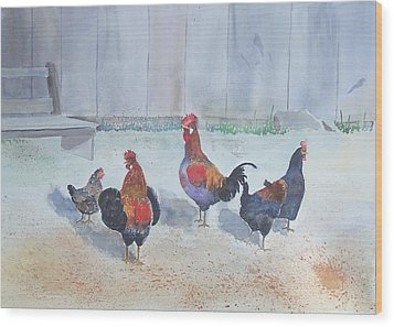 Roosters Wood Print by Christine Lathrop