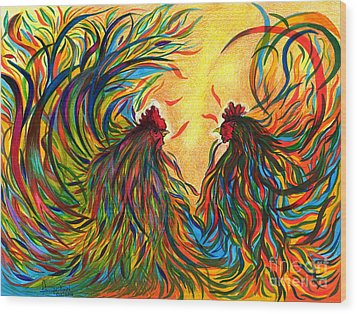 Roosters Frienship Wood Print by Fanny Diaz