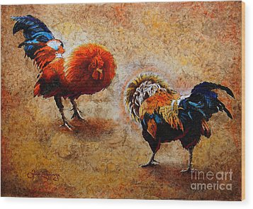 Roosters  Scene Wood Print by J- J- Espinoza
