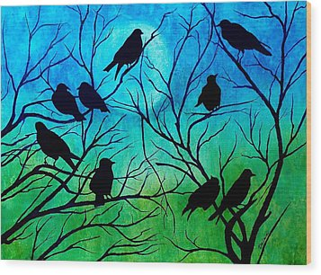 Roosting Birds Wood Print