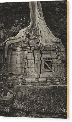 Wood Print featuring the photograph Roots In Ruins 5, Ta Prohm, 2014 by Hitendra SINKAR