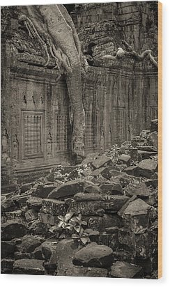 Wood Print featuring the photograph Roots In Ruins 6, Ta Prohm, 2014 by Hitendra SINKAR