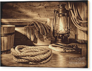 Rope And Tools In A Barn Wood Print
