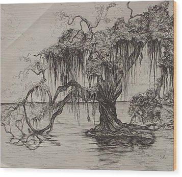 Rope Swing Wood Print by Sarah Lonthier