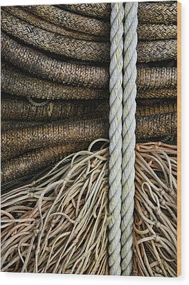 Ropes And Fishing Nets Wood Print by Carol Leigh
