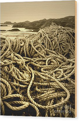 Ropes On Shore Wood Print