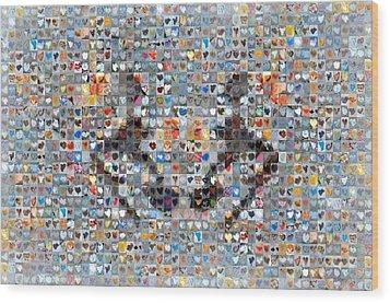 Rorschach Inkblot Card Three Wood Print by Boy Sees Hearts