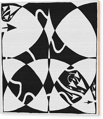 Rorschach Maze Wood Print by Yonatan Frimer Maze Artist