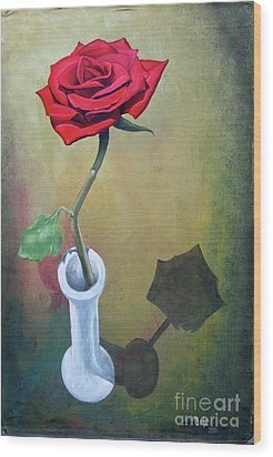 Rose 45 Wood Print by Larry Cole