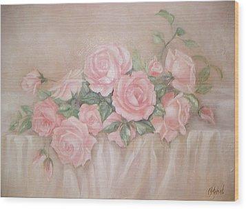 Rose Abundance Painting Wood Print