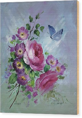 Rose And Butterfly Wood Print by David Jansen