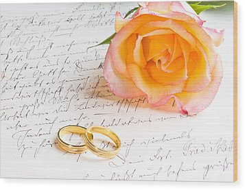 Rose And Two Rings Over Handwritten Letter Wood Print by U Schade