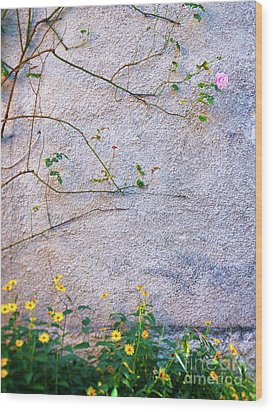 Wood Print featuring the photograph Rose And Yellow Flowers by Silvia Ganora