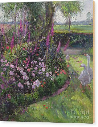 Rose Bed And Geese Wood Print by Timothy Easton