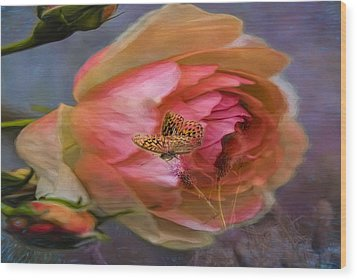 Rose Buttefly Wood Print