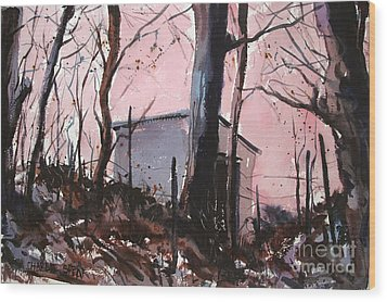 Wood Print featuring the painting Rose Calm Before The Snows Matted Glassed Framed by Charlie Spear