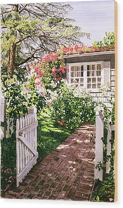 Rose Cottage Gate Wood Print