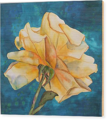 Rose From Behind Wood Print
