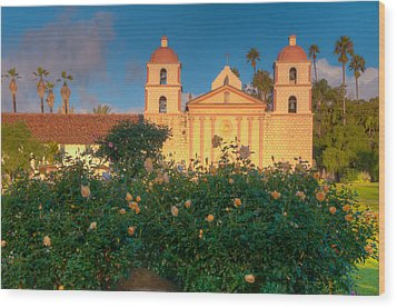 Rose Garden At Santa Barbara Mission Wood Print by Connie Cooper-Edwards