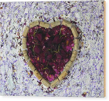Rose Heart Cork Collage Wood Print by Marlene Rose Besso