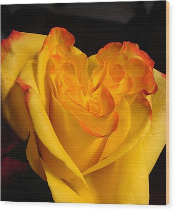 Wood Print featuring the photograph Rose Heart by Margaret Bobb